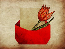 Envelope with tulip grunge background Stock Images