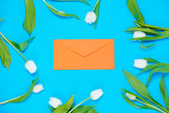 Envelope and tulips Royalty Free Stock Photography
