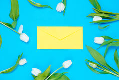 Envelope and tulips Stock Photo