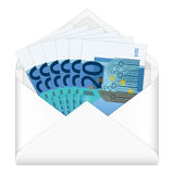 Envelope and twenty euro banknotes Stock Photos