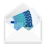 Envelope and twenty euro banknotes Royalty Free Stock Photo