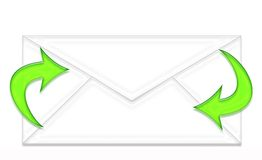 Envelope and two green arrows Stock Images