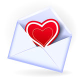 Envelope with valentine heart Stock Image