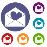 Envelope with Valentine heart icons set. In flat circle red, blue and green color for web Royalty Free Stock Images