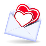 Envelope with valentine hearts Stock Image