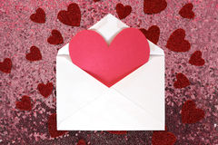 Envelope with Valentine`s Day Heart Note and Confetti on Pink Se Royalty Free Stock Images