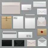 Envelope vector blank of letter on paper mailing to postal mailers address and postcard template illustration set of. Business mockup correspondence isolated on Royalty Free Stock Images