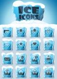Envelope icon set. Envelope vector icons frozen in transparent blocks of ice stock illustration