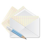 Envelope vector,paper and pencil Stock Photos