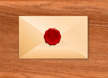 Envelope with Wax Seal Heart Stock Photo