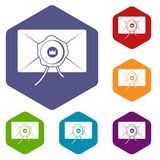 Envelope with wax seal icons set hexagon Stock Image