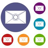 Envelope with wax seal icons set Royalty Free Stock Photos