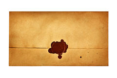 Envelope with a wax seal Royalty Free Stock Photo