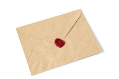 Envelope with wax seal. Old envelope with wax seal on a white background stock photo