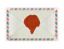 Envelope with wax seal  on white. Royalty Free Stock Image