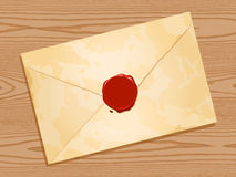 Envelope with wax seal wood background Stock Photography