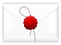 Envelope with wax stamp. Envelope mail with wax stamp on a white background royalty free illustration