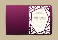 Envelope for Wedding Invitation or Greeting Card with Laser Cut pattern. Vector illustration Royalty Free Stock Image