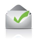 Envelope white a check mark inside illustration Stock Images