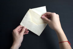 Envelope with white paper Stock Images