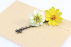 Envelope wiht key and flower Royalty Free Stock Photo