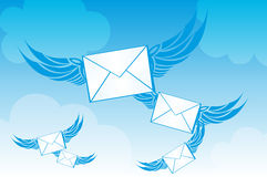 Envelope with wings Royalty Free Stock Photography