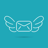 Envelope with wings. Royalty Free Stock Image
