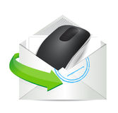 Envelope and Wireless computer mouse Stock Images