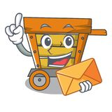 With envelope wooden trolley character cartoon. Vector illustration royalty free illustration
