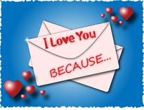 Envelope with the words I love you because. On a blue background with hearts Royalty Free Stock Photo