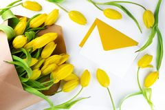 Composition with fresh yellow flowers, petals and open yellow envelope on white background. Flat lay, top view. Spring background royalty free stock image