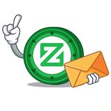 With envelope Zcoin character cartoon style. Vector illustration Royalty Free Stock Photography