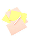 Envelopes. Two envelopes paper and pen isolated on white royalty free stock image