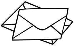 Envelopes. Black and White Cartoon illustration, Vector stock illustration