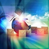 Envelopes around the globe Royalty Free Stock Photography