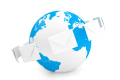 Envelopes around the globe Stock Photo