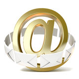 Envelopes around golden e-mail sign. 3D render Royalty Free Stock Photo