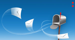 Envelopes around a mailbox Royalty Free Stock Photo