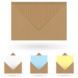 Envelopes brown. Brown striped envelope with shadow and single piece of paper Royalty Free Stock Image