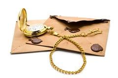 Envelopes and clock Stock Photo