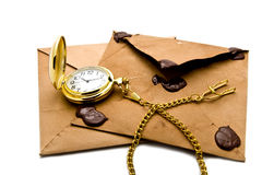 Envelopes and clock Stock Photos