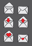 Envelopes with Conceptual Symbols for Email Icon Set Stock Images
