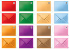 Envelopes-in-different-colours Stock Photos