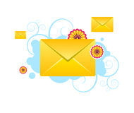 Envelopes, e-mail, sms vector icons with patterns Stock Photography