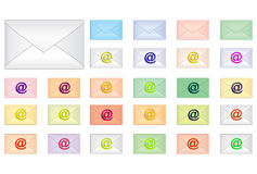 Envelopes with email sign. Clipart: envelopes with email sign Stock Image