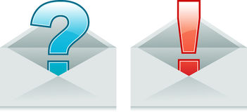 Envelopes with Exclamation and Question Marks Stock Images