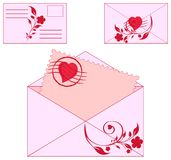 envelopes with floral ornament and heart. Royalty Free Stock Photography