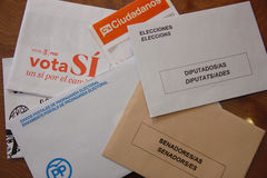 Envelopes the general elections in Spain. Royalty Free Stock Images