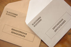 Envelopes the general elections in Spain. Stock Photo
