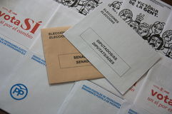 Envelopes the general elections in Spain. Two types of envelopes to elect representatives of Spanish citizens in Congress and the Senate. Along with the royalty free stock photo